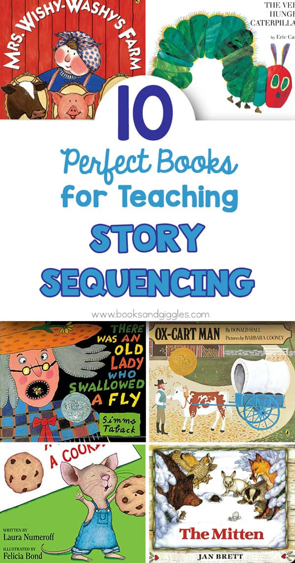 "collage of books and title ""10 perfect books for teaching story sequencing"""