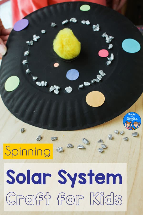 """black paper plate with model of a solar system and asteroid belt, titled """"Spinning Solar System Craft for Kids"""""""