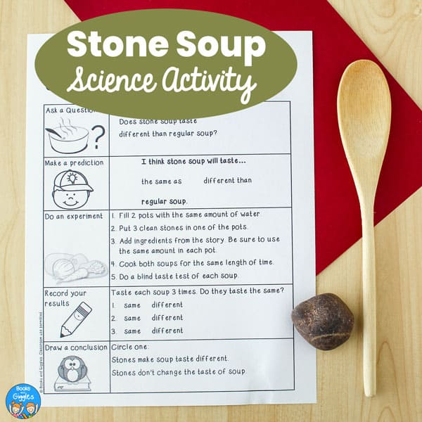 printable stone soup science worksheet with a wooden spoon and a stone