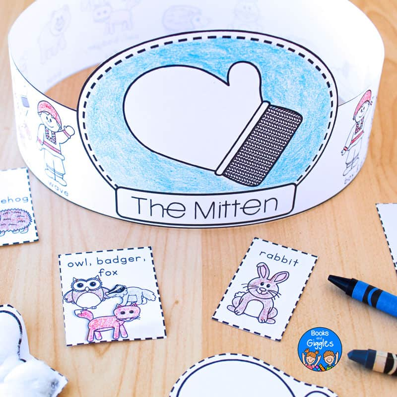 printable story sequencing hat for The Mitten, colored with crayon and assembled