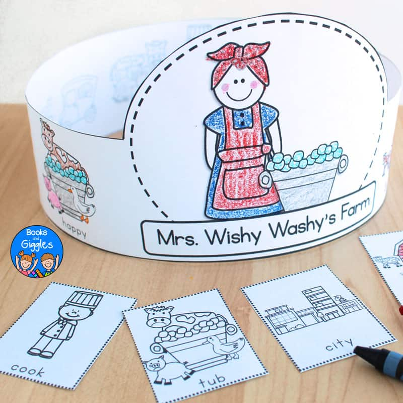 "printable story sequencing hat that says ""Mrs. Wishy Washy's Farm"" and is colored with crayon and assembled"