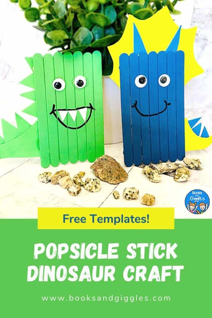 dinosaur crafts with title Popsicle Stick Dinosaur Craft Free Templates!