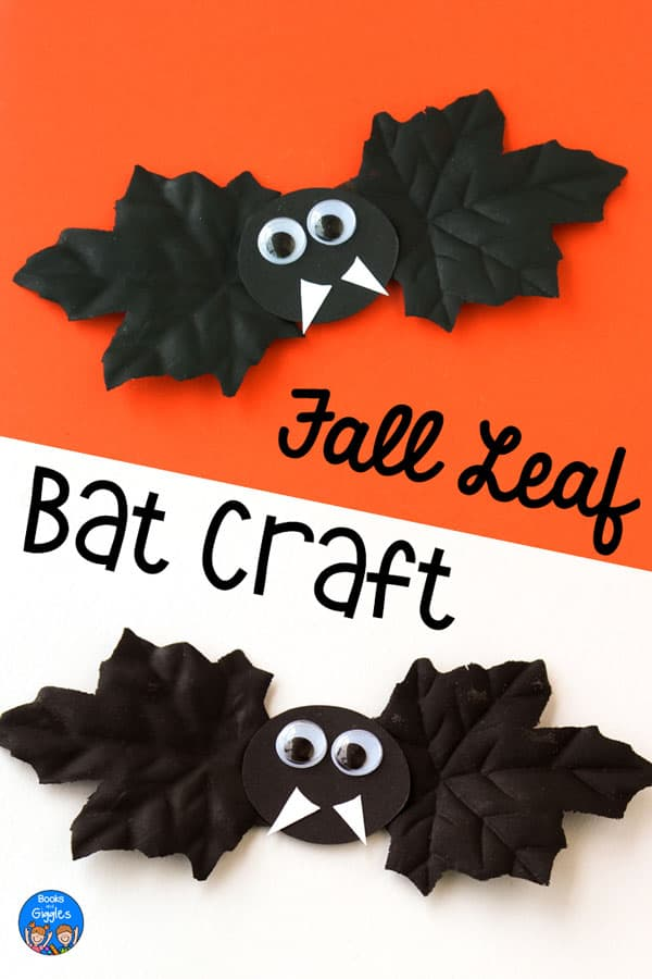 "2 bat crafts and title ""Fall Leaf Bat Craft"""