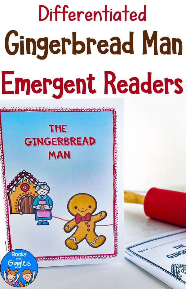 gingerbread man emergent readers shown with a red rolling pin