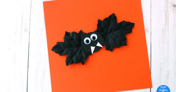 bat craft on orange paper