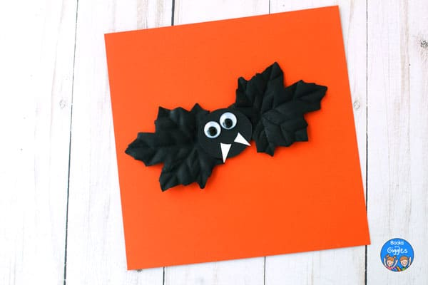 bat craft on orange paper