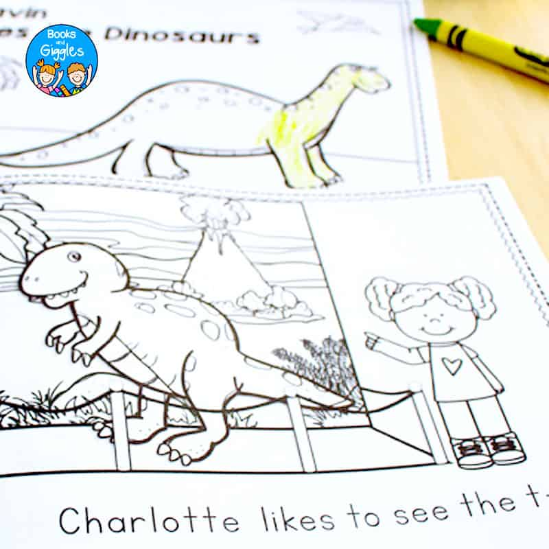 page of dinosaur reader with child's name in text