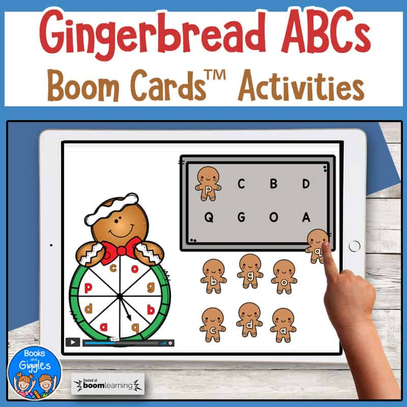 Gingerbread ABCs Boom Cards Activities shown on a tablet with a child's hand dragging a digital gingerbread man onto a cookie sheet.
