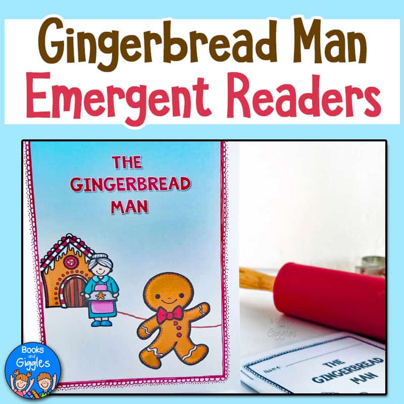 Gingerbread Man Emergent Readers shown in color and black and white next to a small red rolling pin