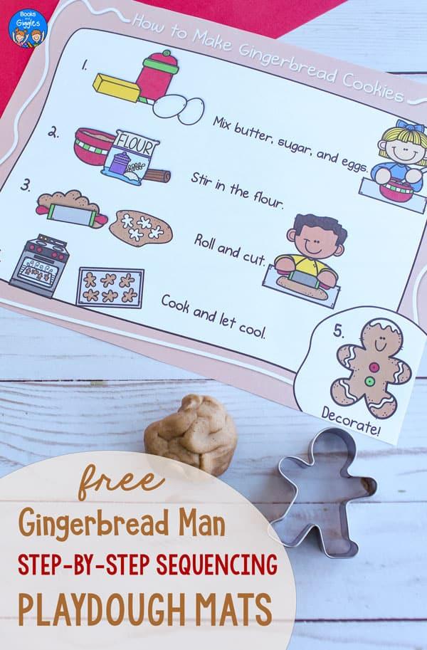 gingerbread playdough mat with cookie cutter and light brown playdough