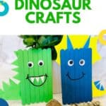 dinosaur craft in 2 versions: a green stegosaurus and a blue triceratops