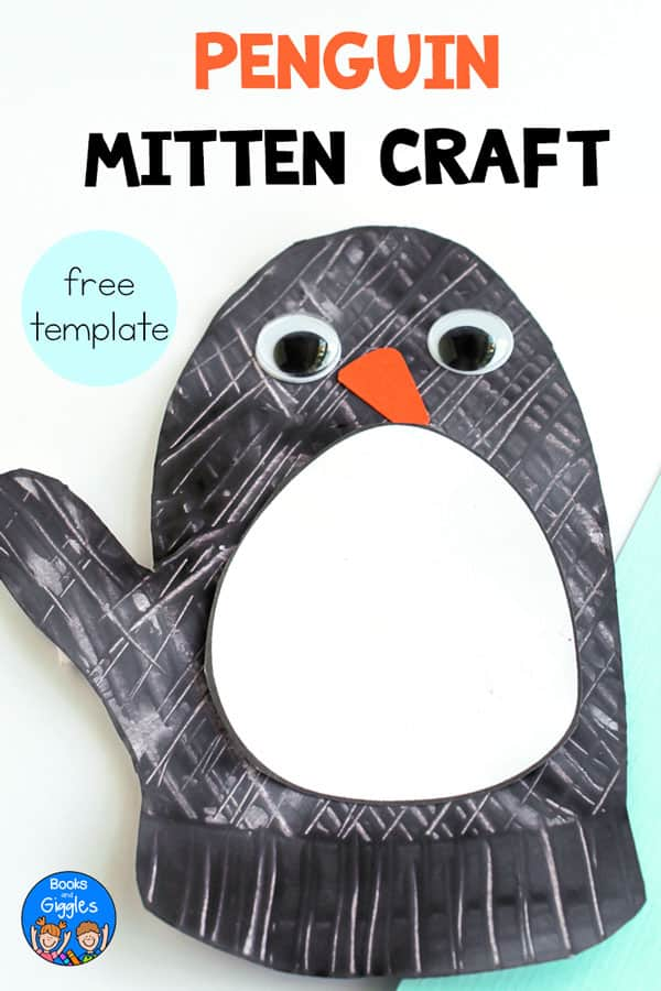 penguin mitten craft, free template