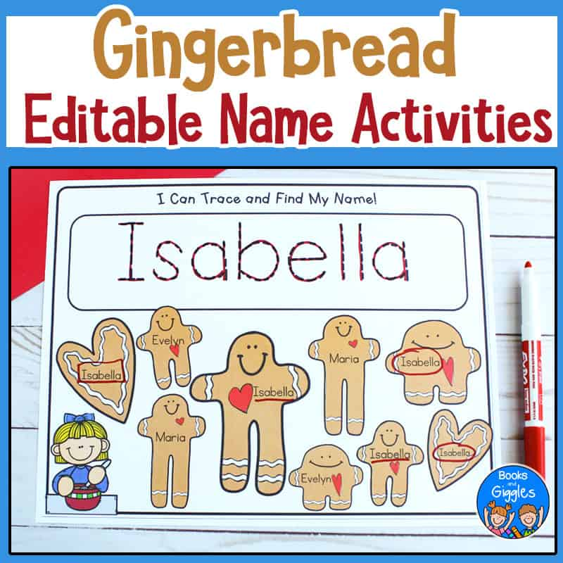 gingerbread name activities printables