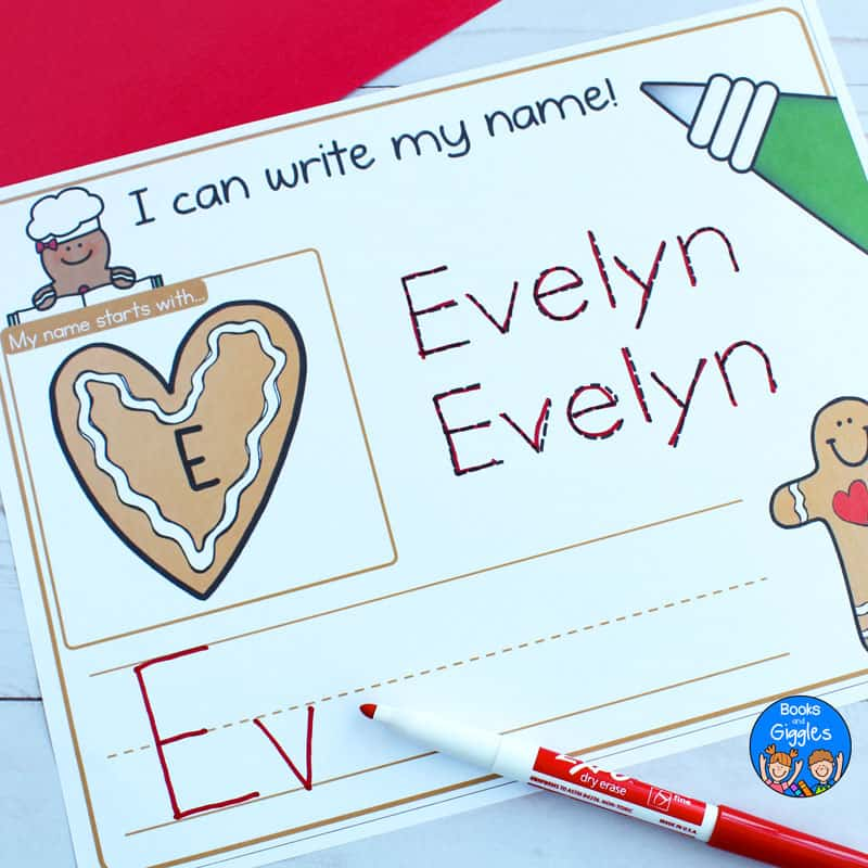gingerbread name activities printable