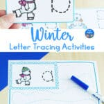 card and worksheet with tracing letters, tracing lines, and polar bears on ice skates