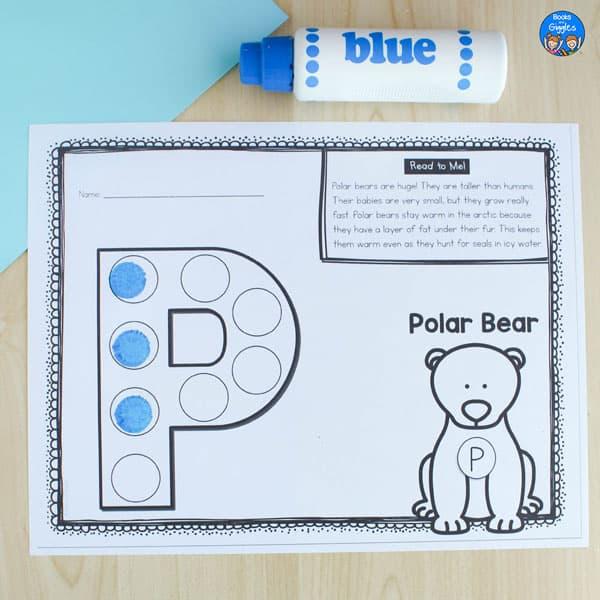 polar bear dot marker worksheet with blue do a dot marker next to it