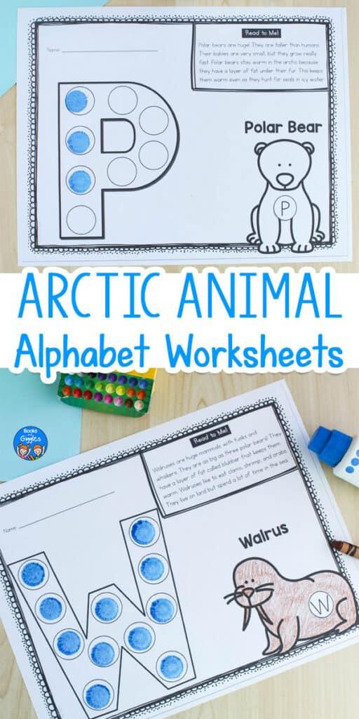 Arctic Animal alphabet worksheets - Polar Bear P worksheet and Walrus W worksheet