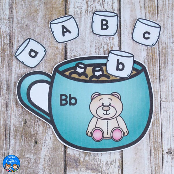 hot cocoa letter sound activity showing a mug with a bear
