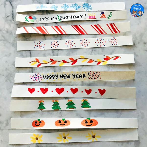 decorated paper strips for each month of the year