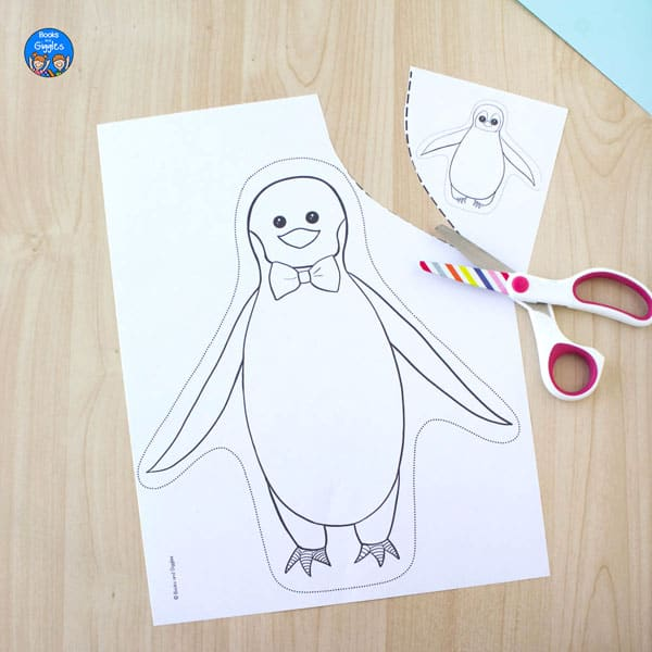 printable penguin craft with dad and chick cut apart