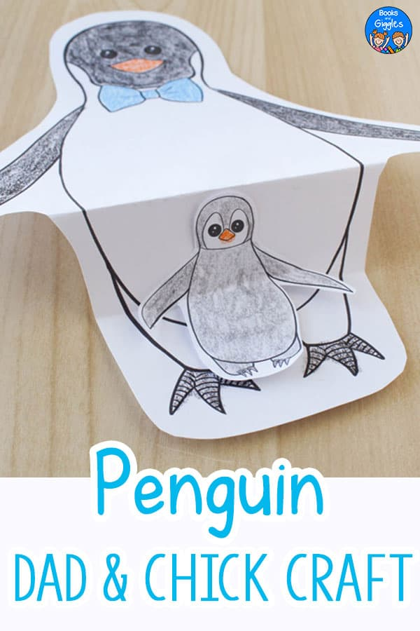 printable penguin craft with dad and chick