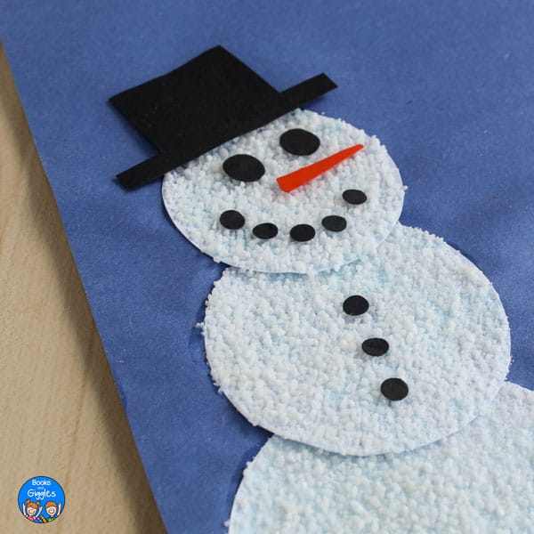 "snowman craft with textured ""snow"""