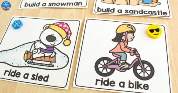 two seasons sorting cards: ride a sled, and ride a bike