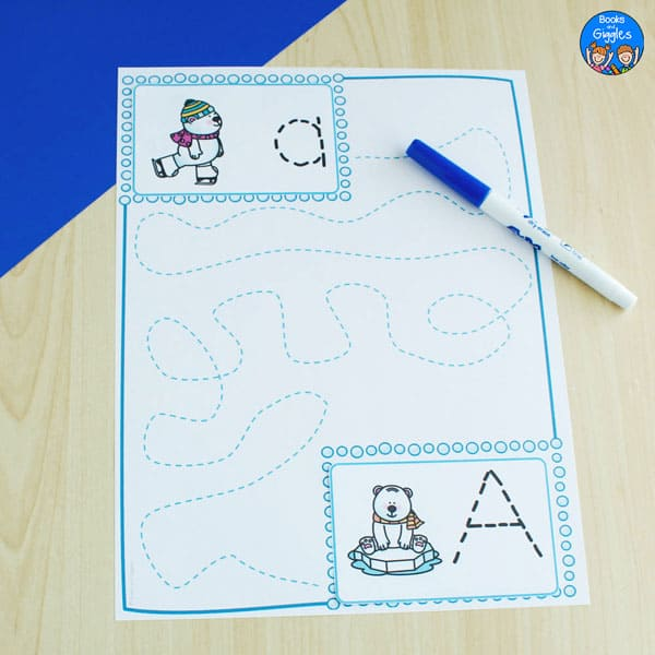 letter tracing worksheet with lowercase and uppercase A and polar bears on ice skates