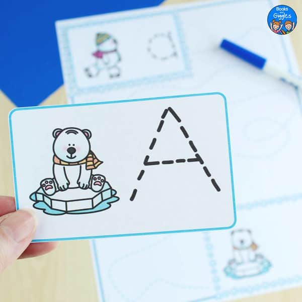 letter tracing card with uppercase A and polar bear on an iceberg