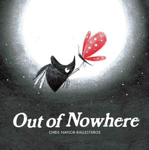Out of Nowhere book cover, which is black and white except for a red-winged butterfly