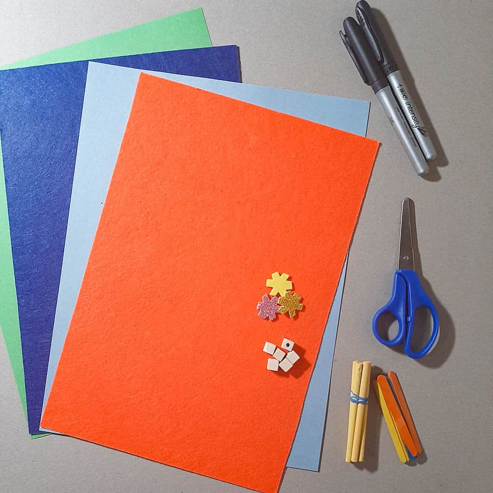 construction paper and other supplies listed in the post