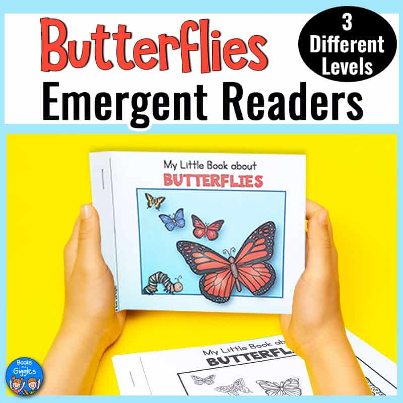 child's hands holding a printable Butterflies Emergent Reader.