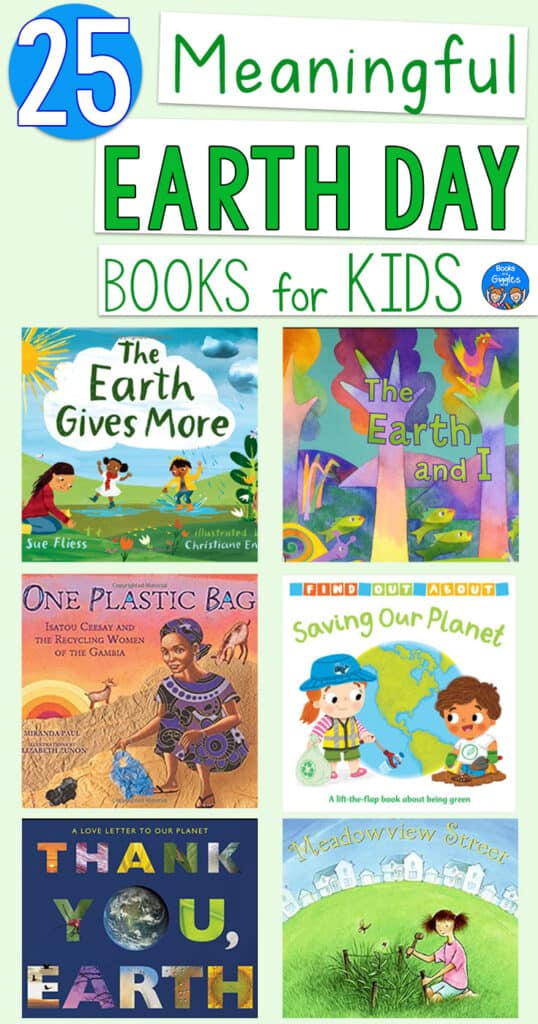 25 Meaningful Earth Day Books for Kids title and book cover collage