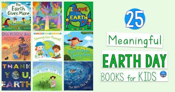 earth day books for kids title and collage of book covers