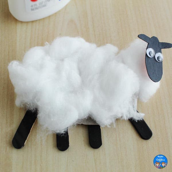 sheep craft with cotton glued back on in one layer