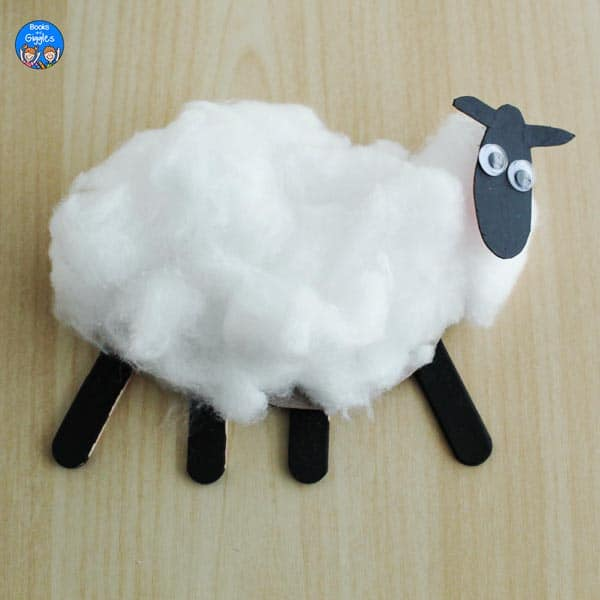 sheep craft with a second layer of cotton glued back on