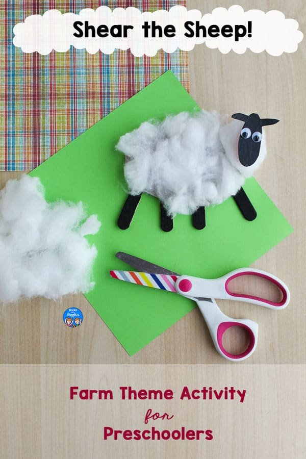 Shear the Sheep! Farm Theme Activity for Preschoolers, showing the sheep craft after being cut with scissors