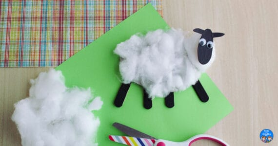 sheep craft after being shorn with scissors