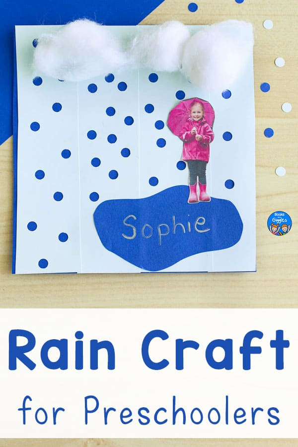 rain craft for preschoolers shown with hole punched paper