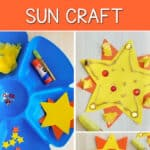 """""""Invitation to Create Preschool SUN CRAFT"""" title with collage showing materials and paper sun collages"""