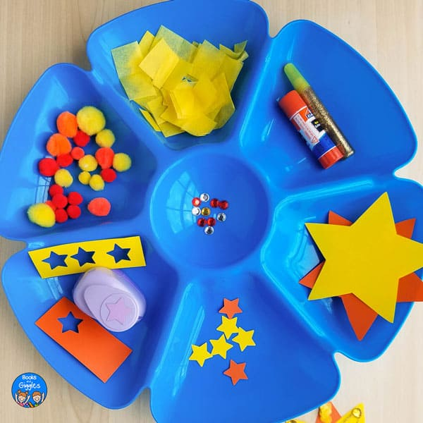 blue plastic sectioned tray containing craft materials