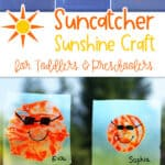 collage showing process of making a paint sun suncatcher and two suncatchers on a window