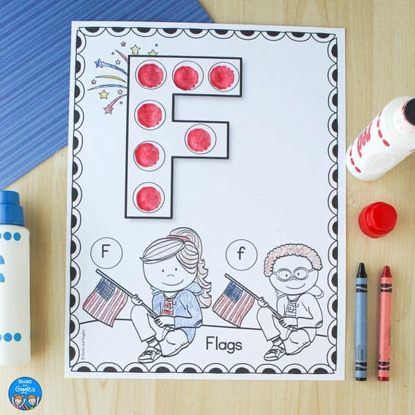 filled in fourth of july worksheet featuring the letter F and flags
