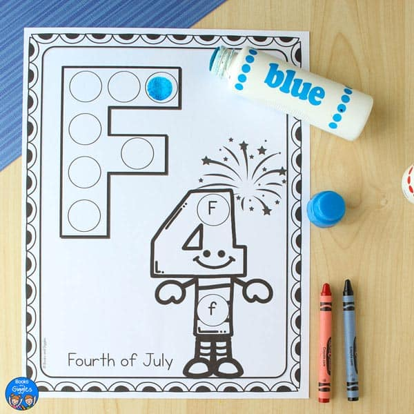"""blue do-a-dot marker next to a letter F worksheet about the word """"fourth"""""""