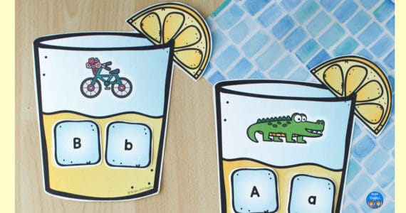 """lemonade letter sounds printable with a bicycle and """"ice cubes"""" with letters B and b on them, and part of the A printable with an alligator"""