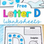 dot dabber marker on a Letter D worksheet featuring a dolphin