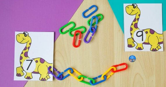 dinosaur counting activity cards with connect links