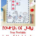 filled in free printable Letter F Fourth of July worksheet